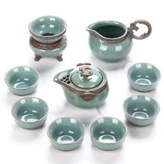 開片瓷器哥窯陶瓷整套功夫茶具套裝特價高端禮盒裝家用送禮 哥窯福駐人家