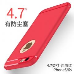 蘋果6手機殼iPhone6sPlus矽膠套女款六透明超薄防摔個性6P軟殼男 6s-4.7【帶塞】西瓜