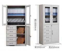 鋼櫃 文件櫃 組合櫃 左5斗加上玻璃