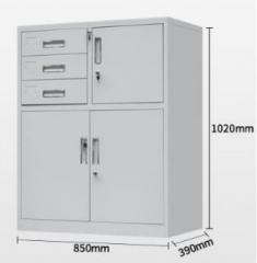 鋼櫃 多功能矮櫃 3斗+保險箱雙開