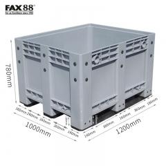 FAX88 塑膠卡板箱連上蓋 密封式-灰色