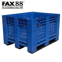 FAX88 塑膠卡板箱連上蓋 網格式-藍色