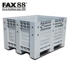 FAX88 塑膠卡板箱連上蓋 網格式-灰色