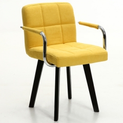 A100 書房椅/電腦椅/辦公椅 實木布藝#114669 黄色