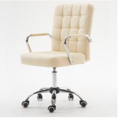 FAX88 辦公椅/吧椅 帶扶手 PU米白色滑輪