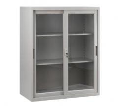 移門鋼櫃 多功能矮櫃 H109xW90xD45cm 玻璃門