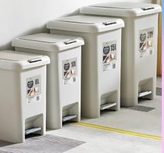 AutoMax 日本時尚腳踏式垃圾桶 杏色 BR4225 8L