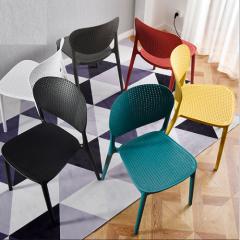 塑膠料椅子時尚家用餐椅户 黄色