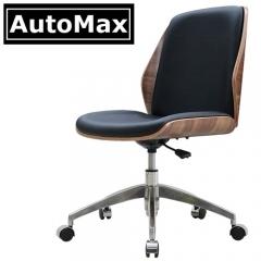 AutoMax 仿皮實木辦公椅 電腦椅 書房椅 會議椅 胡桃木背 黑色仿皮