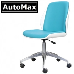 AutoMax 仿皮實木辦公椅 電腦椅 書房椅 會議椅 鋼琴白背 天藍仿皮