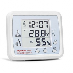 電子時計 +溫濕度計  放桌面 掛牆 兩用 白色