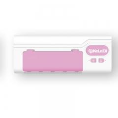 智能牙刷架家用紫外線加熱消毒牙刷置物架壁掛式免打孔消毒盒 粉色