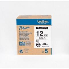 Brother HGE-231v5 高解像度層標籤 12mm 白底黑字 5件裝