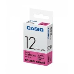Casio 標簽機色帶 XR-12FPK 熒光粉紅底黑字