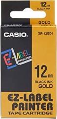 Casio 標簽機色帶 XR-12GD1 金底黑字