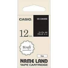Casio 標簽機色帶 XR-12KRBK 黑底米色字