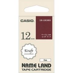 Casio 標簽機色帶 XR-12KRRD 紅底米色字