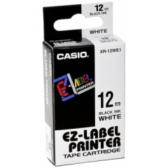 Casio 標簽機色帶 XR-12WE1 白底黑字