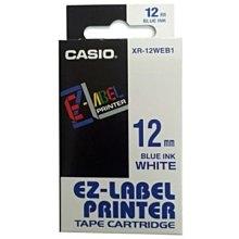 Casio 標簽機色帶 XR-12WEB1 白底藍字