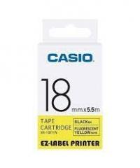 Casio 標簽機色帶 XR-18FYW 熒光黃底黑字