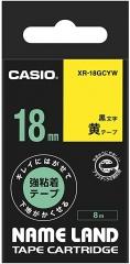 Casio 標簽機色帶 XR-18GCYW 熒光黃底黑字