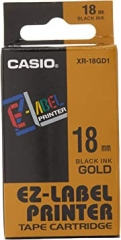 Casio 標簽機色帶 XR-18GD1 金底黑字