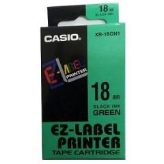 Casio 標簽機色帶 XR-18GN1 綠底黑字