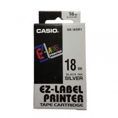 Casio 標簽機色帶 XR-18SR1 銀底黑字