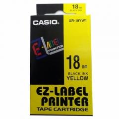 Casio 標簽機色帶 XR-18YW1 黃底黑字