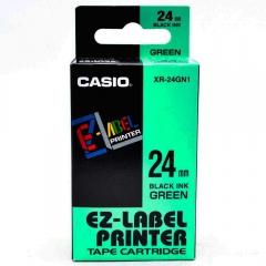 Casio 標簽機色帶 XR-24GN1 綠底黑字