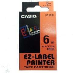 Casio 標簽機色帶 XR-6RD1 紅底黑字