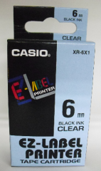 Casio 標簽機色帶 XR-6X1 透明底黑字