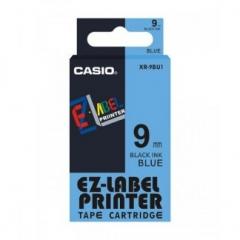 Casio 標簽機色帶 XR-9BU1 藍底黑字