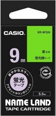 Casio 標簽機色帶 XR-9FGN 熒光綠底黑字
