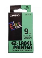 Casio 標簽機色帶 XR-9GN1 綠底黑字