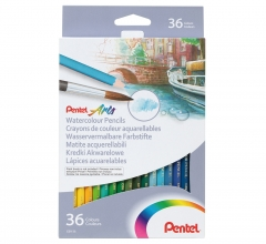 PENTEL 水溶性木顏色筆 紙盒裝 36色