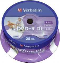 Verbatim 43667 DVD+R DL 25P cake box