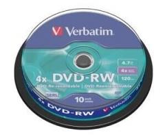 Verbatim 43552 DVD-RW 10P cake box