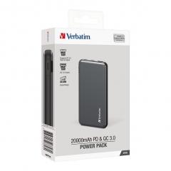 Verbatim 66628 QC 3.0 + PD3.0 20000mAh 流動充電器 銀色
