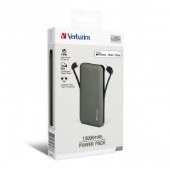 Verbatim 66437 10000mAh 流動充電器連充電線 Power Pack 銀色