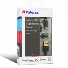 Verbatim 65363 2 in 1 Lighting&Micro USB Cable