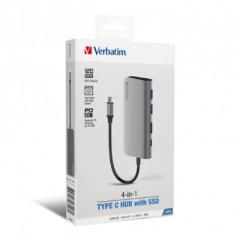 Verbatim 66446 4-in-1 Type C Hub with 120GB SSD 灰色