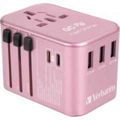 Verbatim 66354 5-Port 33W Travel Adaptor 旅游插座 粉紅