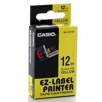 Casio   12mm #XR-12YW1      EZ-Printer 帶-黃底黑字