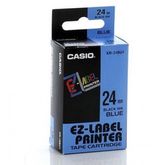 Casio   24mm #XR-24BU1     EZ-Printer 帶-藍底黑字