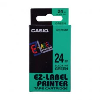 Casio   24mm #XR-24GN1     EZ-Printer 帶-綠底黑字