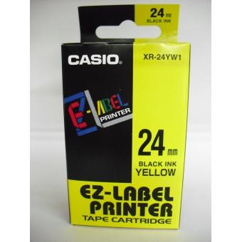 Casio   24mm #XR-24YW1     EZ-Printer 帶-黃底黑字