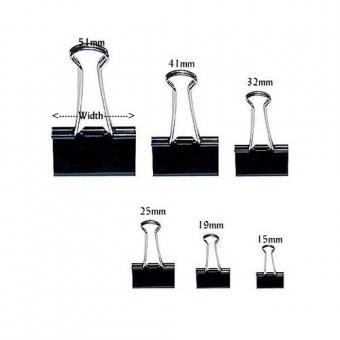 長尾夾 (黑色) Binder Clip (每盒12個) - 多款呎吋