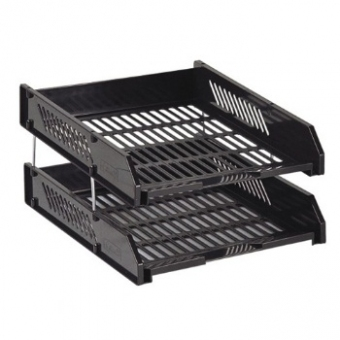 A4 / 2層 鐵柱 Tray - 文件盤 黑色